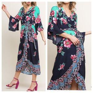 NEW! Floral Faux Wrap V-Neck Midi Dress